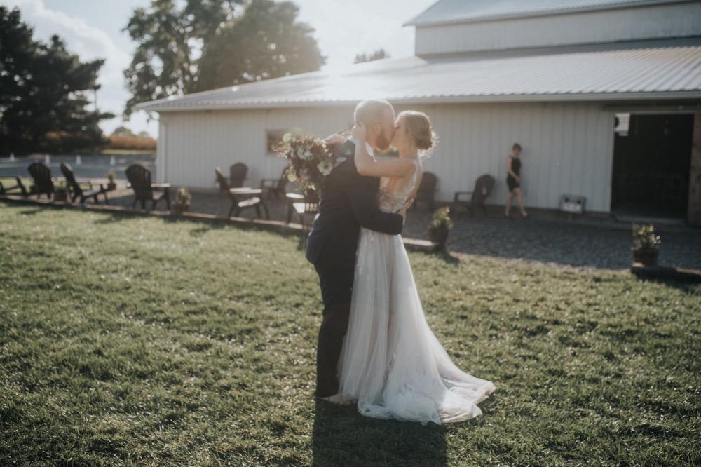 A wedding photo at The Buckeye Barn