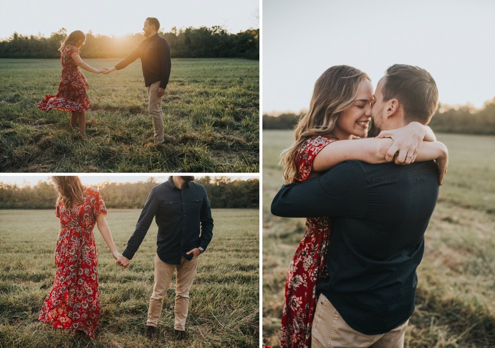 Engagement session in local coffee shop, Warehouse 4. Couples session at the Five Rivers MetroParks at sunset. Fun, fall engagement session in Dayton, Ohio.