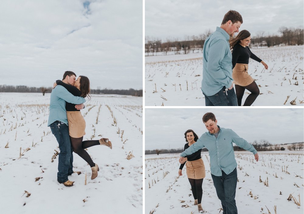 Running and jumping at their engagement session
