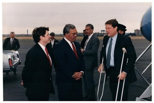 Bob Massie, candidate for Lt. Governor, greets Vice President Al Gore and Boston Mayor Thomas Menino, on the Logan Airport tarmac in October of 1994.