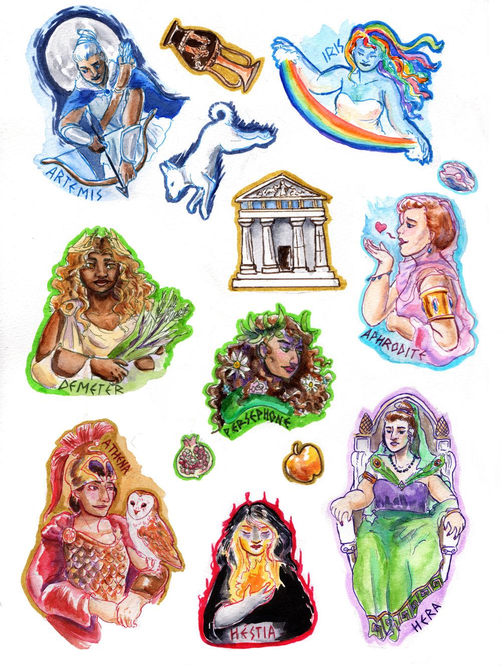 Greek Goddess Sticker Set -