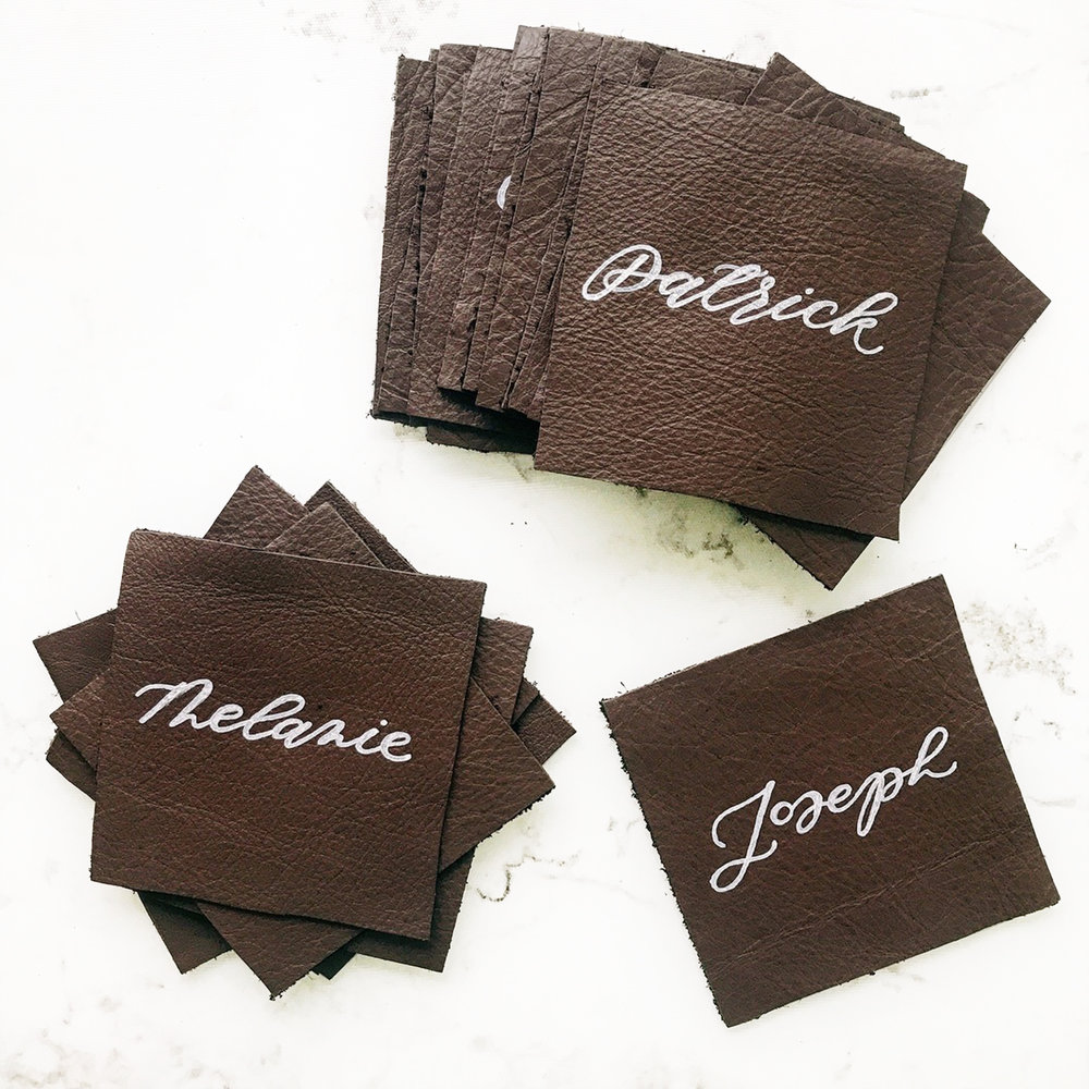 Real Leather Calligraphy Place Cards | Sojourn Art and Ink