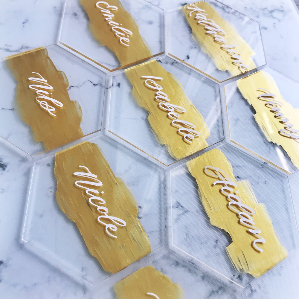 custom-gold-and-acrylic-calligraphy-hexagon-place-cards-sojourn-art-and-ink.jpg