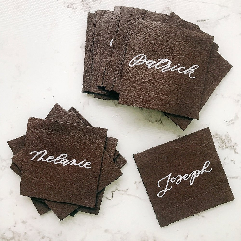 Custom Leather Place Cards   Custom Day-of Items   Sojourn Art and Ink