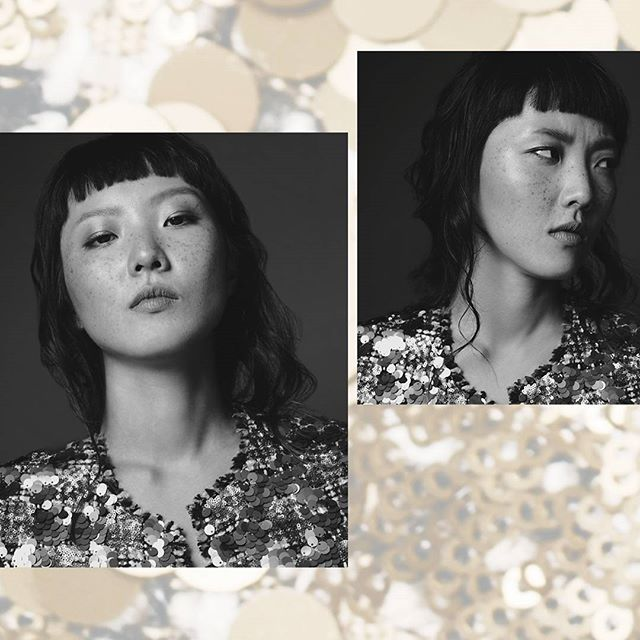 @heyjinhaejinlee in #blackandwhiteandgold Photo @out_of_fifty Makeup @beautybyelle.ong Hair @janet_pink_ivy_beauty Studio @theatriumnyc . . . . #fashionportrait #studioshoot #photoshoot #instudio #nyc #newyorkcity #profoto #nikond4 #frecklesfordays #blackandwhite  #derkgs