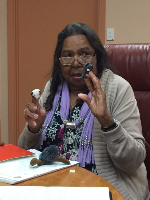 Elder Veda Betts sharing the language using finger puppets