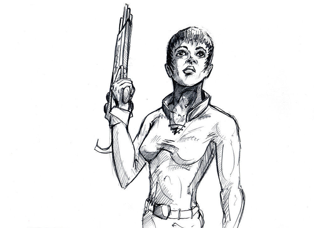 Concept Sketch - Woman-Gun-Blk Short Hair.jpg