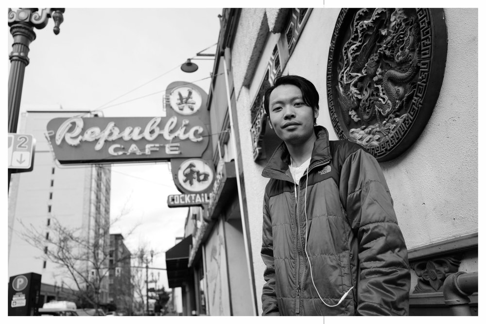 Ivan Mui stands in front of Mui family owned Republic Café. Photo from: Dean Wong's  Made In Chinatown, USA: Portland.