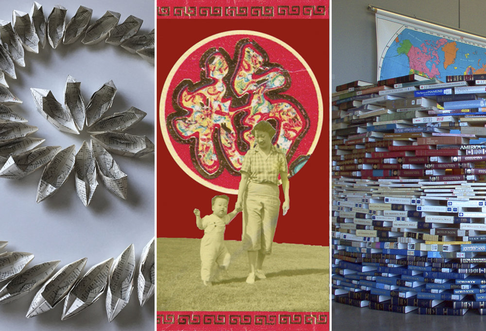 Photo: Details of works by (L to R): Ellen George, Lynn Yarne, and Roberta May Wong. Courtesy of the artists.