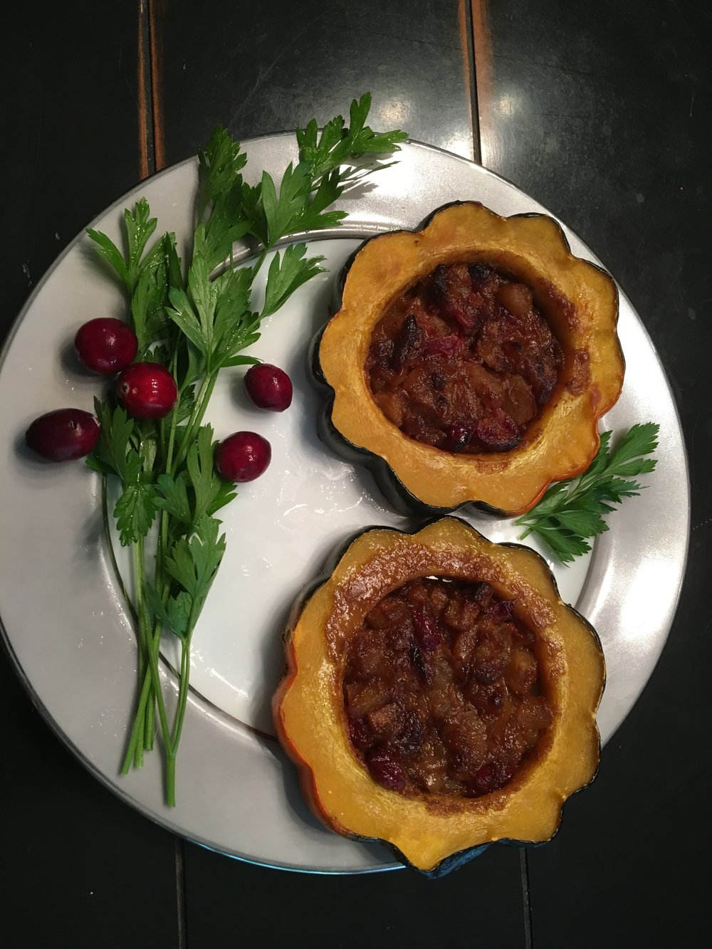 Acorn squash with apple cranberry filling