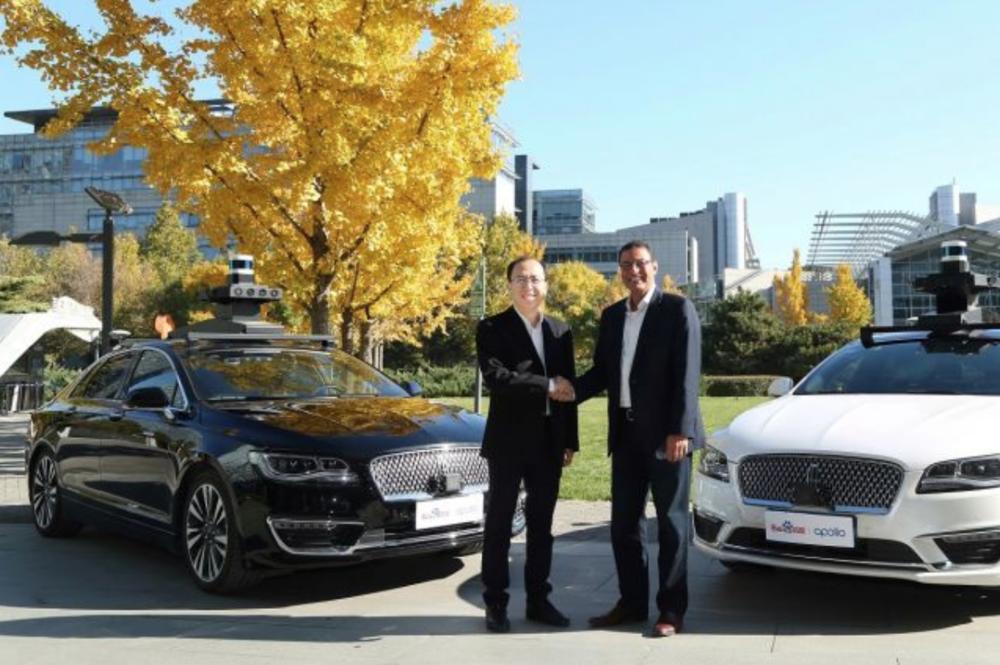 - Baidu President Zhang Ya-Qin (left) and Sherif Marakby, CEO of Ford Autonomous Vehicles LLC (right) join hands to test autonomous vehicles in China under the Baidu Apollo initiative.