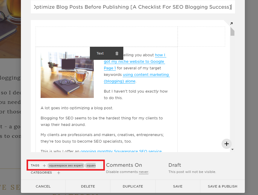 squarespace seo expert, squarespace seo 2018, squarespace seo 2019, how to optimize blog posts for seo, does blogging help seo, blog seo tips, blog seo checklist, how to write seo friendly blogs, blogging for seo success, blogging for seo 2019, squarespace seo checklist, optimize seo squarespace, how to write blogs for seo, writing for seo in 2019, Tiffany Davidson, Squarespace expert, squarespace web designer