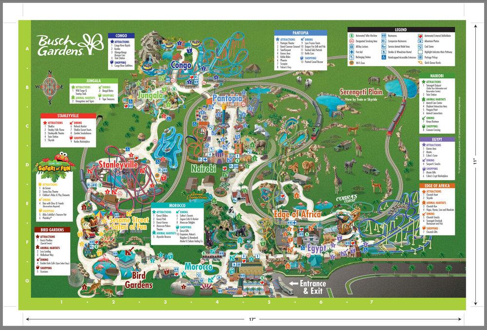 Map Of Busch Gardens Tampa Bay (C) Busch Gardens 2018