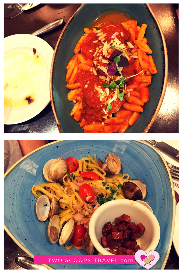 Pasta alla Vongola and Polpetta at Trattoria