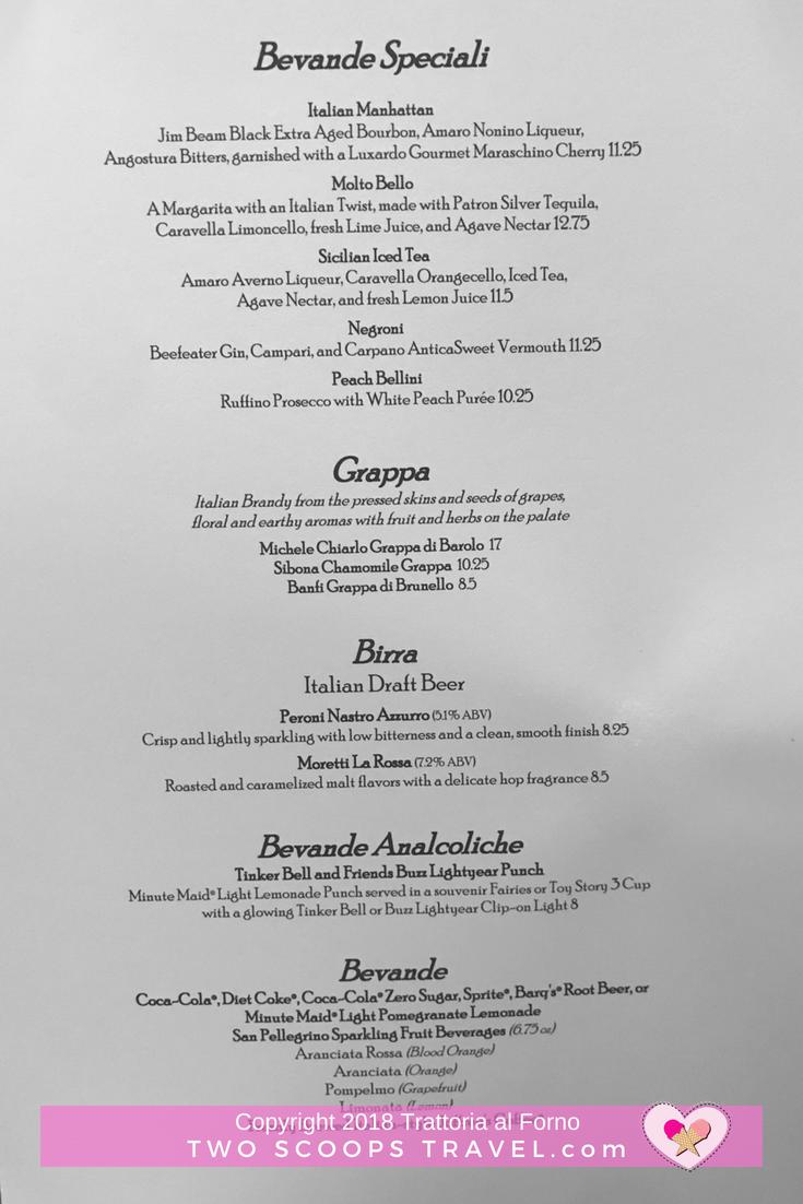 Trattoria al Forno's Special Drink Menu