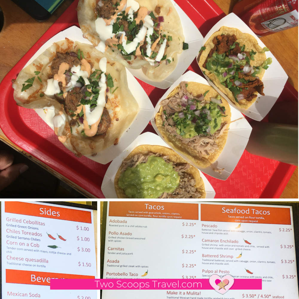 Imperial Beach Street Tacos Menu and Taco Closeup - copyright Two Scoops Travel 2018