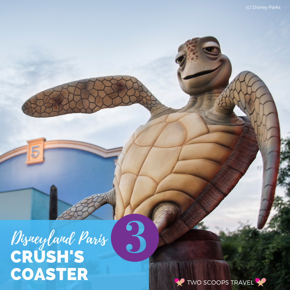3rd (third) best ride at Disneyland Paris - Crush's Coaster - by Two Scoops Travel