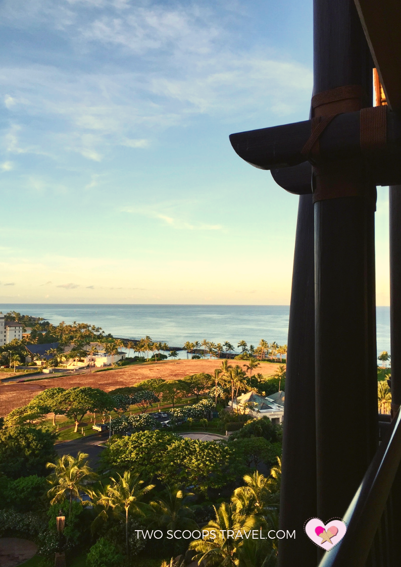Ocean-view room at Disney Aulani Resort by Two Scoops Travel 2019
