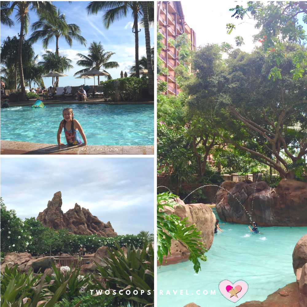 Volcano slides lazy rivers and pools at Disney Aulani Resort by Two Scoops Travel 2019