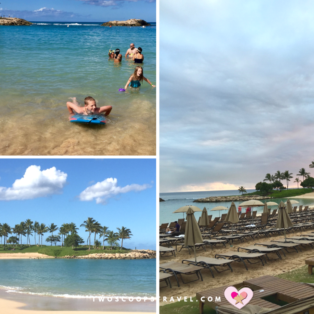 Aulani's private beach by Two Scoops Travel 2019