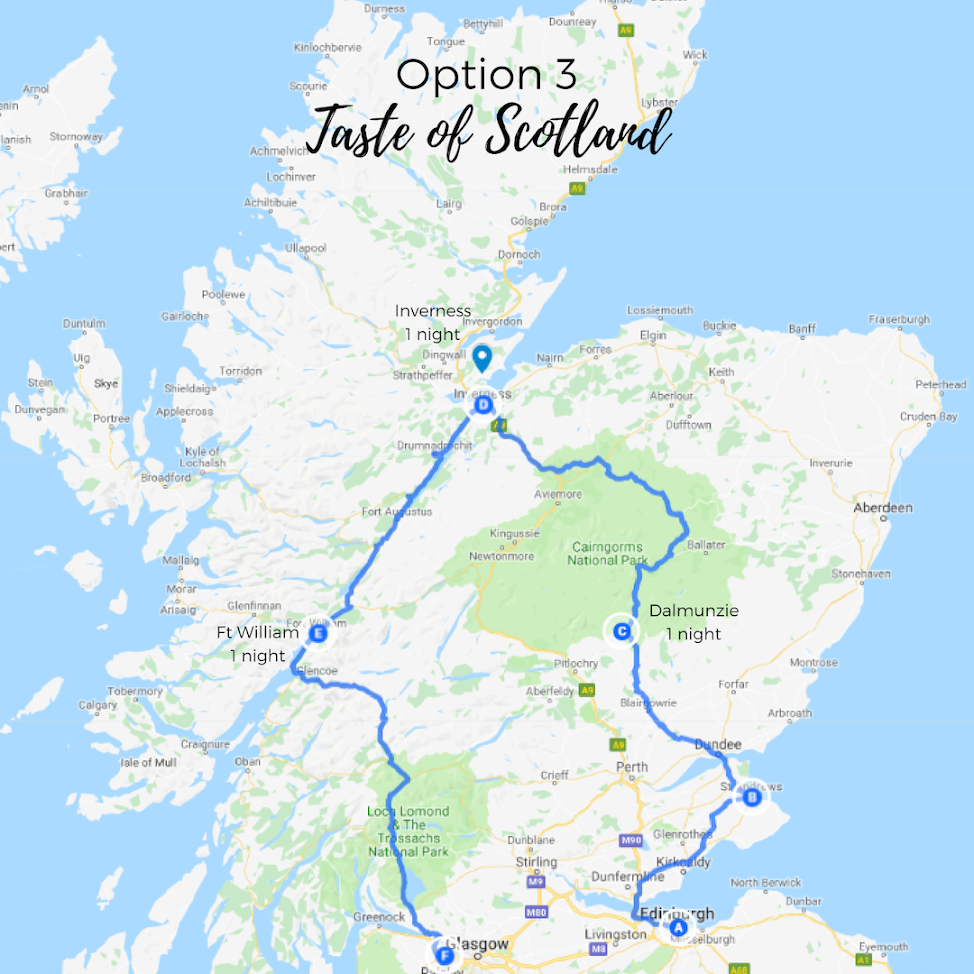 Spend one night in each Dalmunzie, Inverness, Fort William and experience a taste of Scotland's top attractions. -