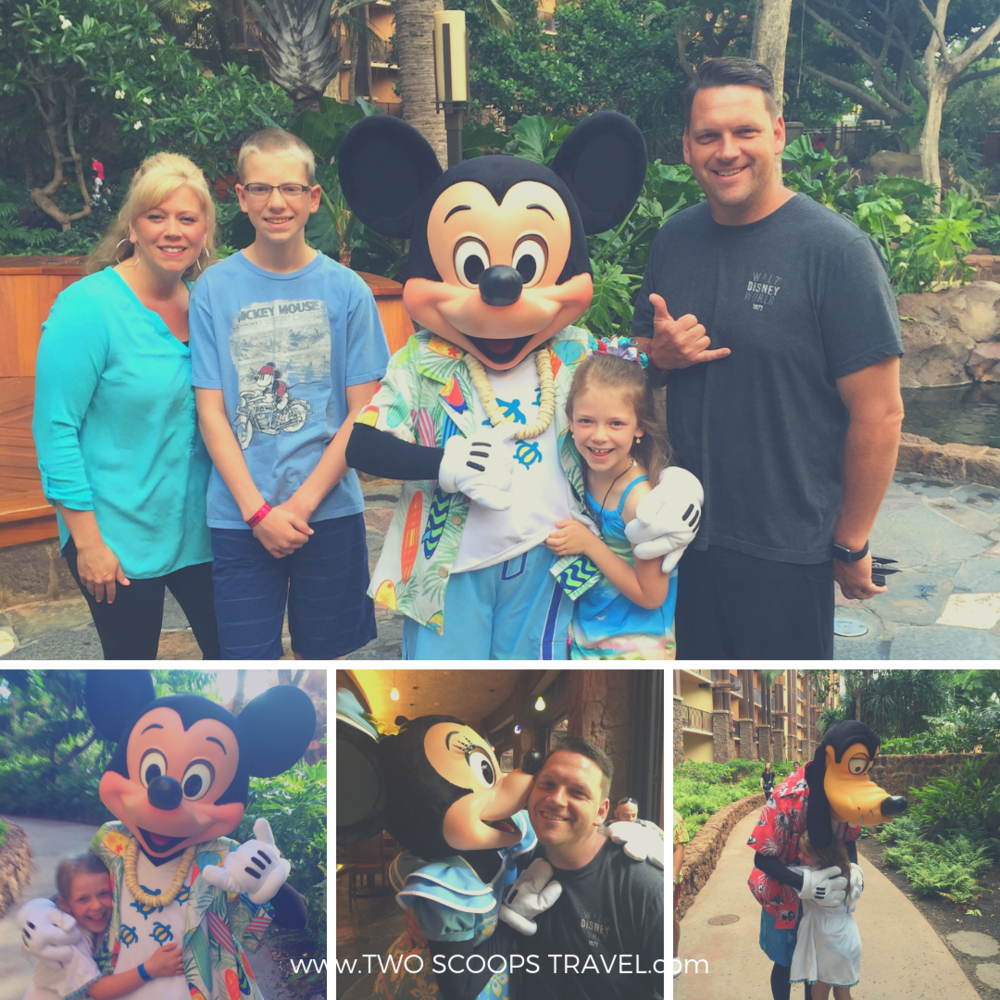 Disney characters at Aulani Resort and Spa by Two Scoops Travel 2019