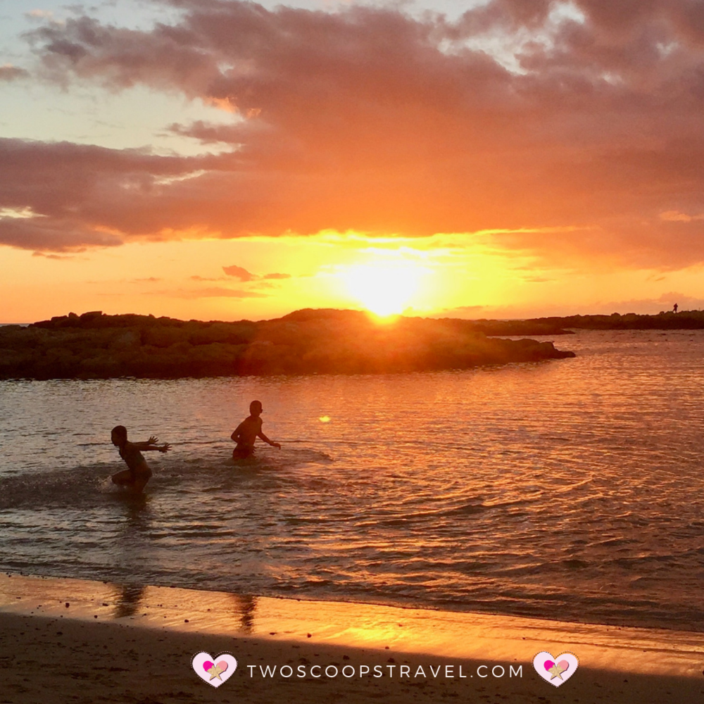 Sunset at Disney's Aulani Resort and Spa by Two Scoops Travel 2019