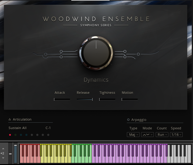 The full ensemble patch features color coded keys for each instrument section