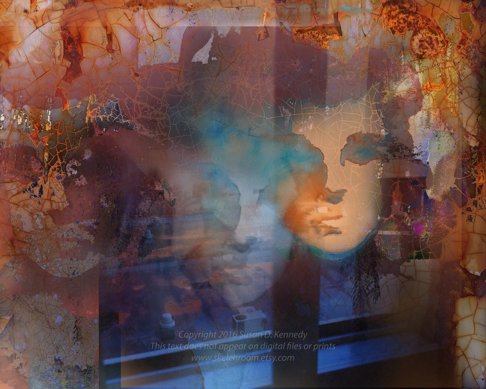 This digital collage tells a story about a loved one struggling with schizophrenia, and incorporates some places and themes significant in her life.   Thanks for checking in, and let me know what you've been working on!   You can see some clearance paintings for sale on ebay   here  ; and check   here   to see my Etsy sketchroom site, with digital downloads of painted photographs, sketches and more to come. Incidentally, my youtube art videos are  here.