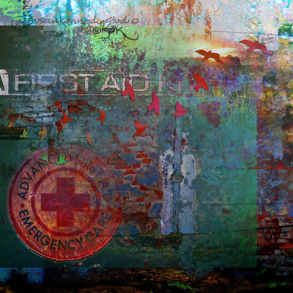 Digital Collage from my old First Aid Kit and with Bird Cutouts from friends in Holguin.