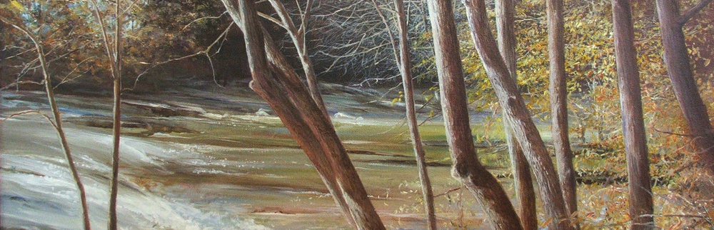 My realistic landscape paintings usually attempt to evoke a solitary, peaceful contemplation of sunshine, nature and color. This is a view of a remarkable wide span of rushing water as Settendown Creek near our home spreads out to cascade over flat shelves of granite. My children spent a number of afternoons picking their way across these slippery rocks and swimming in the water hole just upstream.
