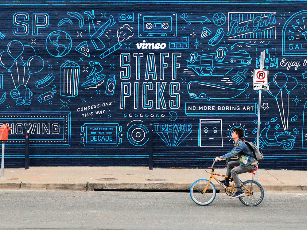 Vimeo Staff Picks Mural. Work done at Preacher.