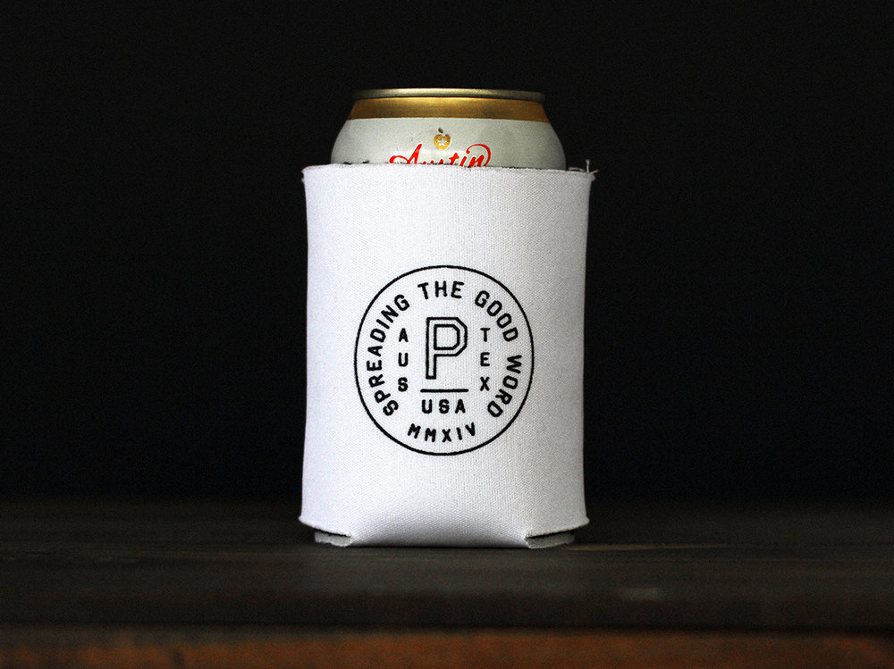 Preacher Revival Badge Koozie. Work done at Preacher.