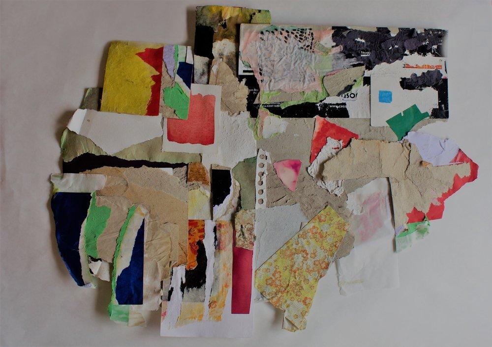 Otávio Barata, Fricassé 1, 2018, 45 x 58 cm. colagem com materiais diversos; da série  Fricasse , exposta na Outra Feira Nº5