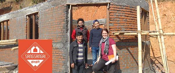 Natasha with Sangsangai co-founder BIbek K. Pandit and engineers Dharma Waiba and Bijay Shrestha
