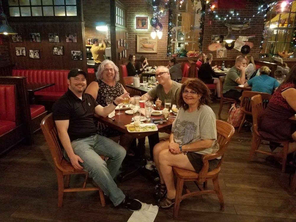birthday dinner with my brother, dawn, chris the birthday boy, and me