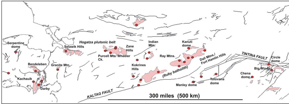 "The Central Alaska Hot Springs Belt, and associated plutons. Chena and Manley are in the bottom right. (Kolker, 2008). The Cretaceous plutons often form the core of ""domes"", which are basically just rounded hills."