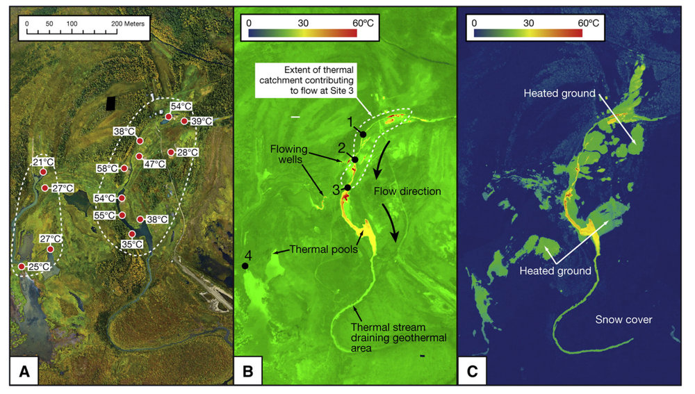 Optical and TIR imagery of Pilgrim Hot Springs. (Haselwimmer et al., 2013)