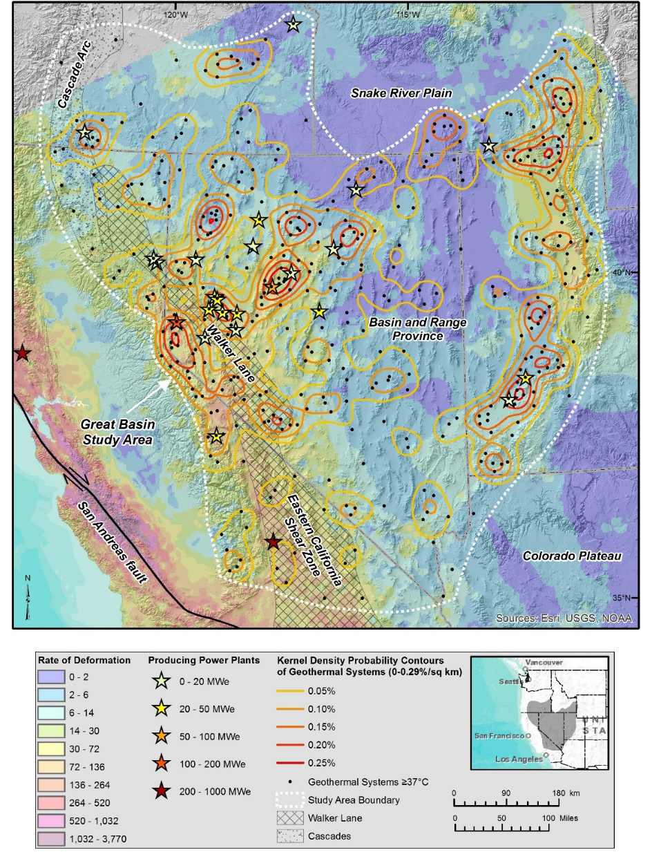 Geothermal systems and regional tectonic setting of the central-western United States. The Basin and Range geologic province is characterized by north-south trending horsts (ranges) and grabens (basins). The majority of dextral shear strain between the Pacific and North American plates is accommodated on or near the San Andreas fault, with a minor component on the Eastern California Shear Zone and Walker Lane. Note that Nevada hosts the greatest number of geothermal power plants, but the largest power producers are in California. Source: Faulds and Hinz (2015)