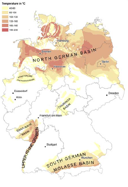 Regions with potential geothermal resources in Germany. Main regions are the North German Basin, Molasse Basin, and Rhine Graben. Source: Suchi et al., 2014.