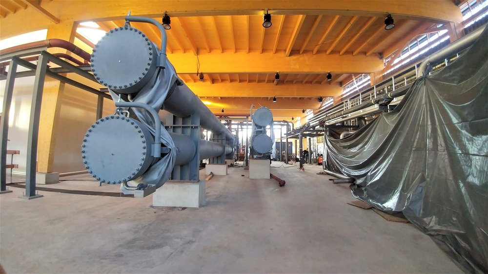 Heat exchangers in the geothermal power plant at Holzkirchen. Heat from the geothermal fluid is transferred to a working fluid that drives the turbine.