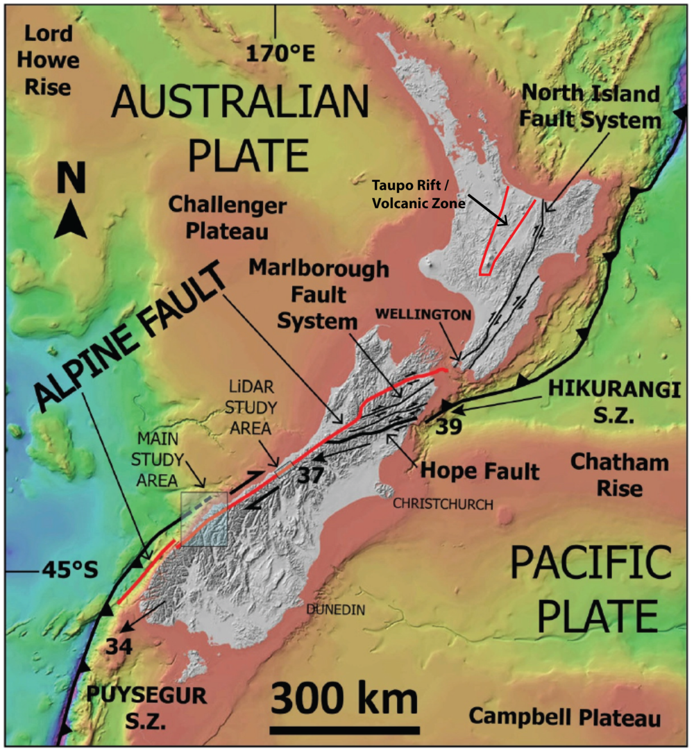 Tectonic setting of New Zealand adapted from Barth (2012), showing the west-dipping Hikurangi Subduction Zone, the approximate outline of Taupo Rift / Volcanic Zone, the dextral Marlborough Fault System and Alpine Fault, and the east-dipping Puysegur Subduction Zone.