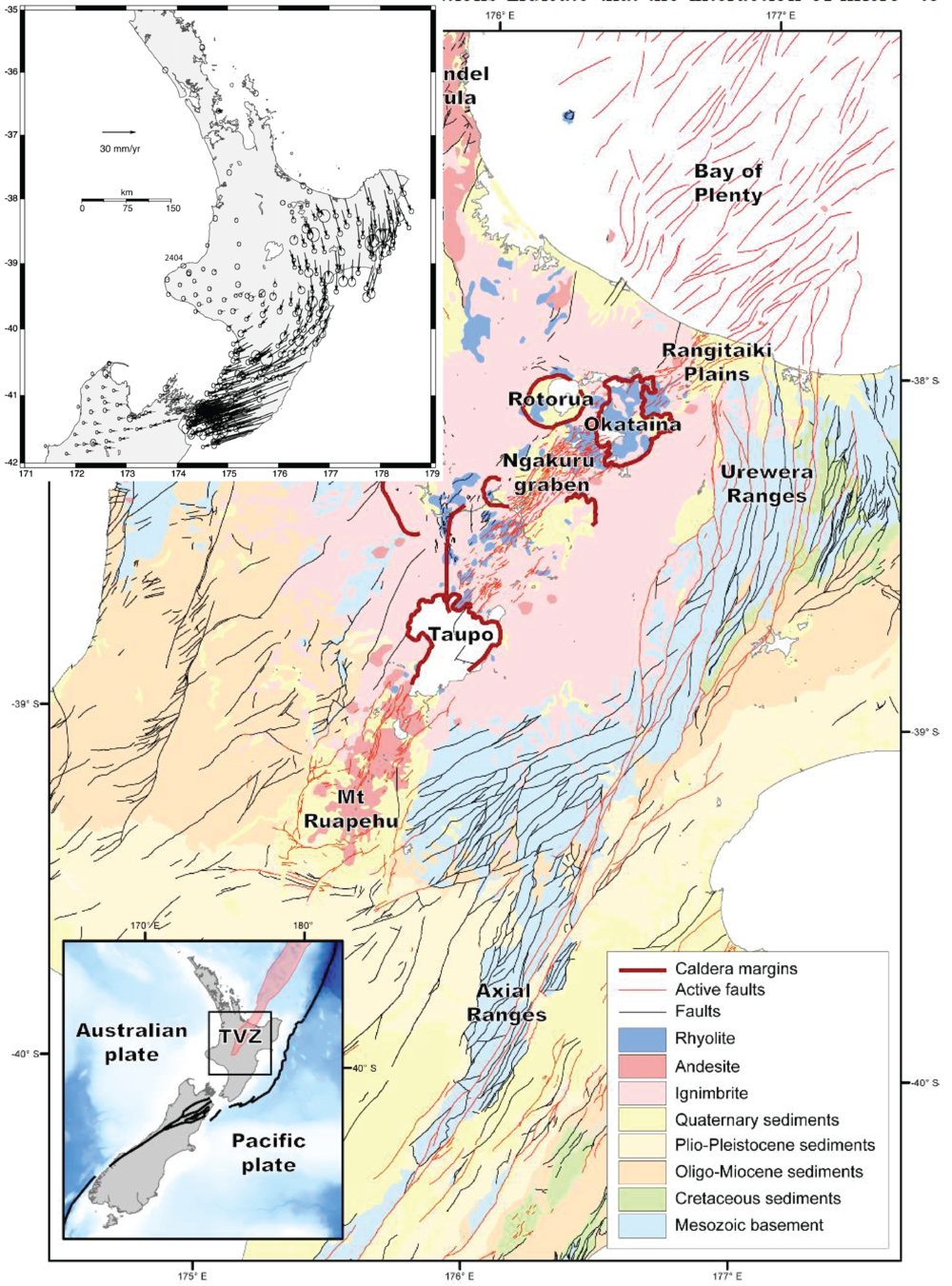 Geologic map of the North Island, including the volcanoes and calderas of the Taupo Volcanic Zone, and extensional faults of the overlapping Taupo Rift (Villamor et al., 2017). Upper left inset shows crustal velocities of the Pacific Plate relative to the Australian plate (Wallace et al., 2004). Note the clockwise rotation of the forearc, resulting in extension at the Taupo Rift, and transpression towards the south.