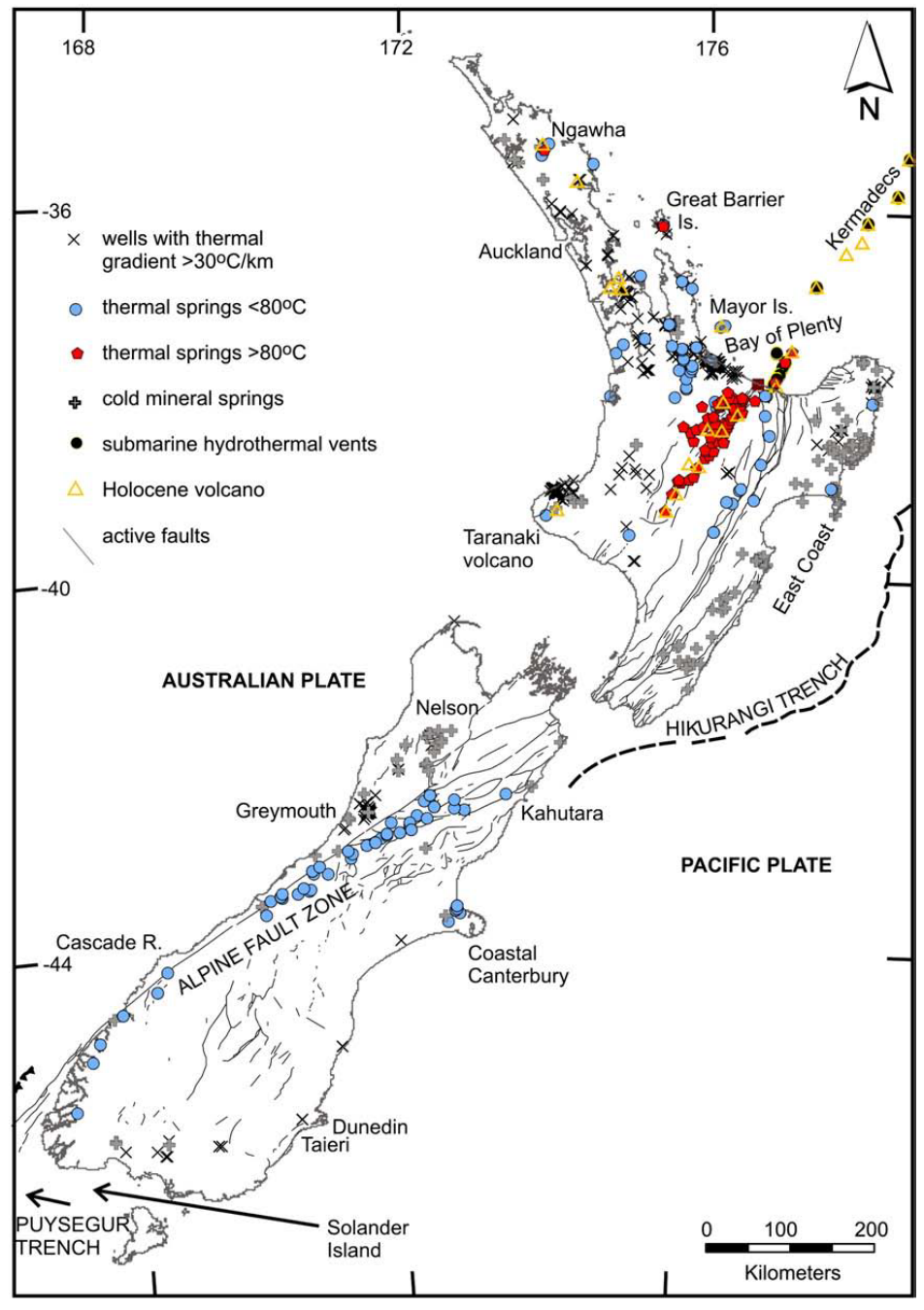 Thermal and cold mineral springs, and wells with elevated thermal gradients in New Zealand (Reyes et al., 2010). Note the concentration of springs along the Alpine Fault, and the wells with elevated geothermal gradients near Greymouth.