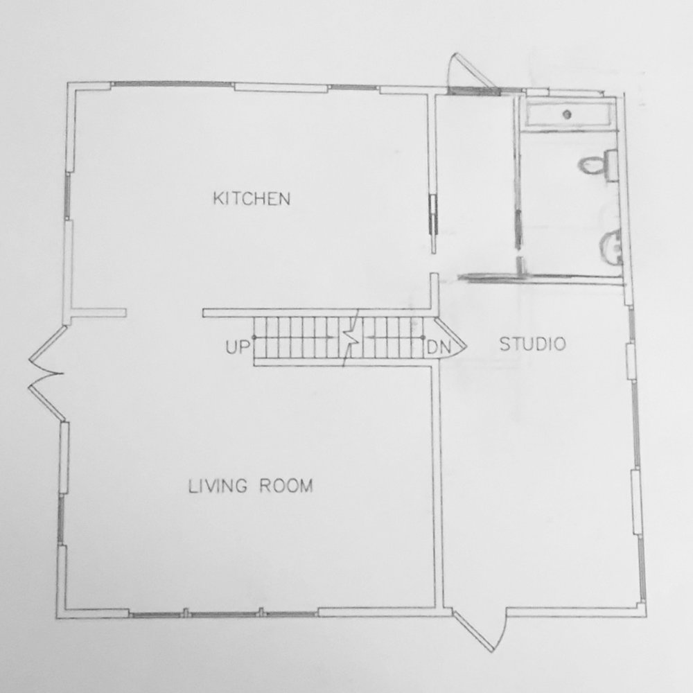 An early doodle of The Back Room renovation plan…Plan template courtesy of Brian Yudin.