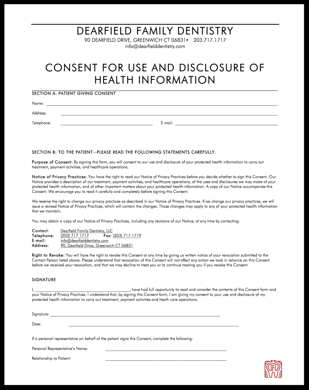 Patient forms dearfield family dentistry hipaa form altavistaventures Choice Image