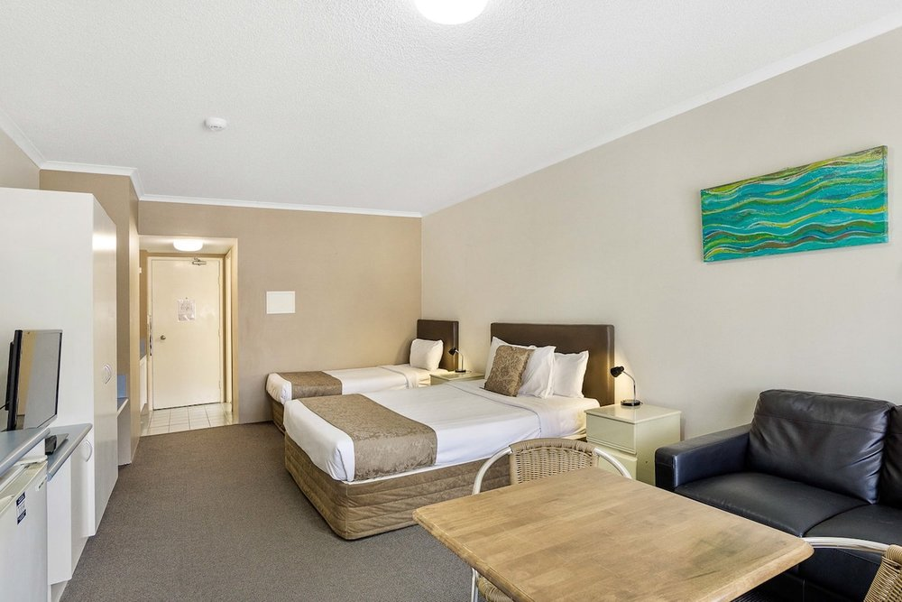 Twin Studio - 1 x Queen Bed, 1 x Single BedPrivate Ensuite • Free WiFi • Kitchenette• TV • AirconMORE INFO