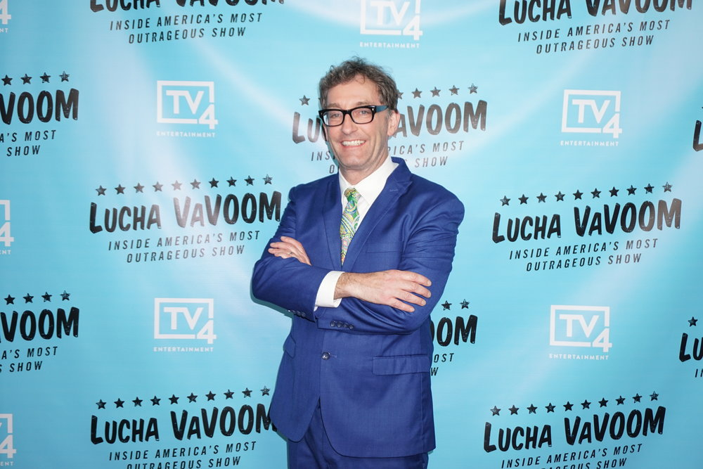 Actor Tom Kenny, the voice of SpongeBob SquarePants, supporting Lucha VaVOOM!