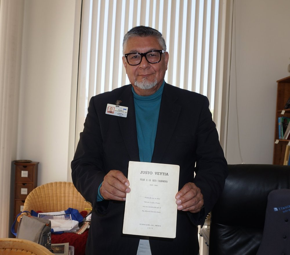 Dr. Hayes-Bautista with his copy of Justo Veytia, a diary of a Mexican 49er