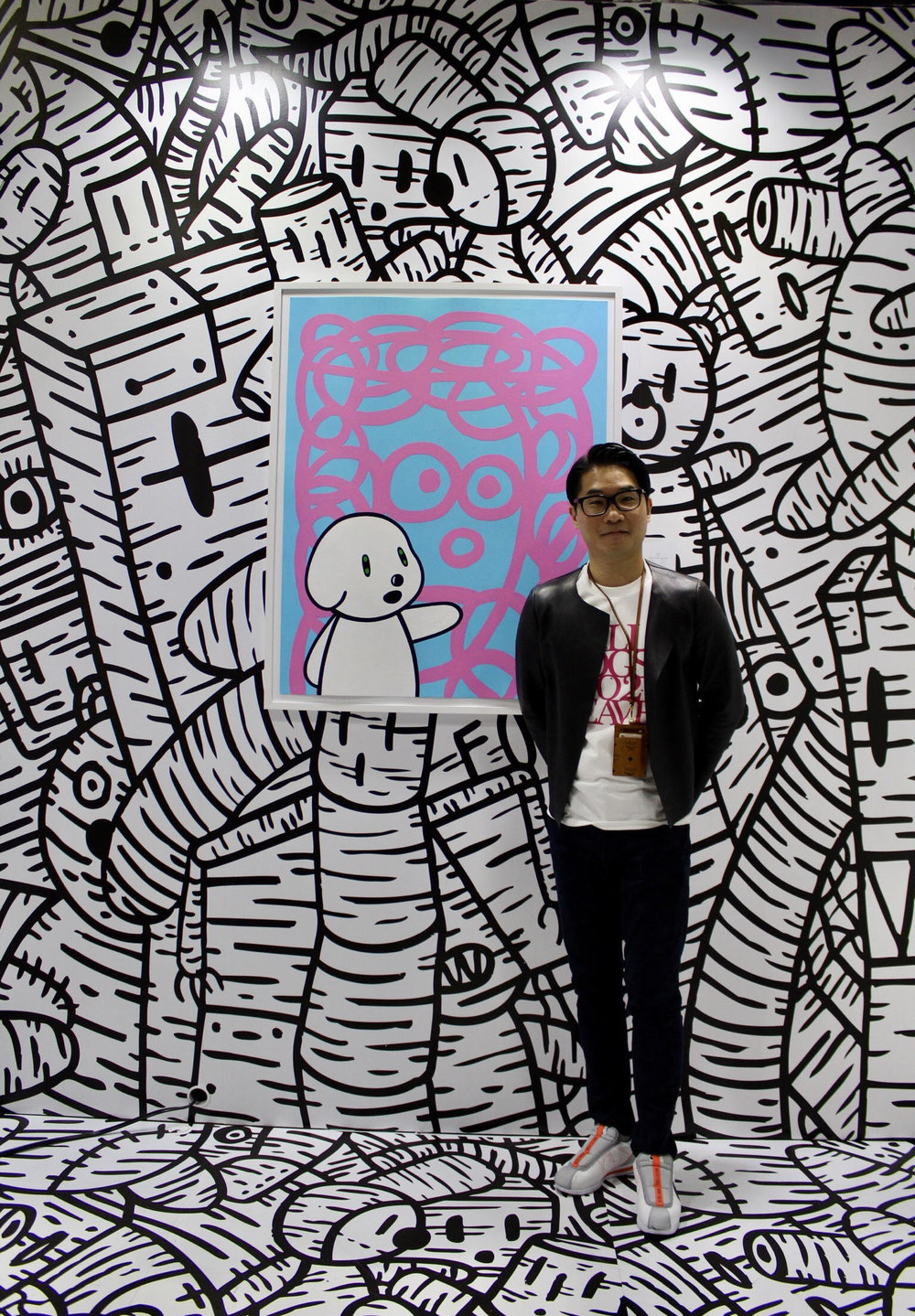 Eddie Kang with his art